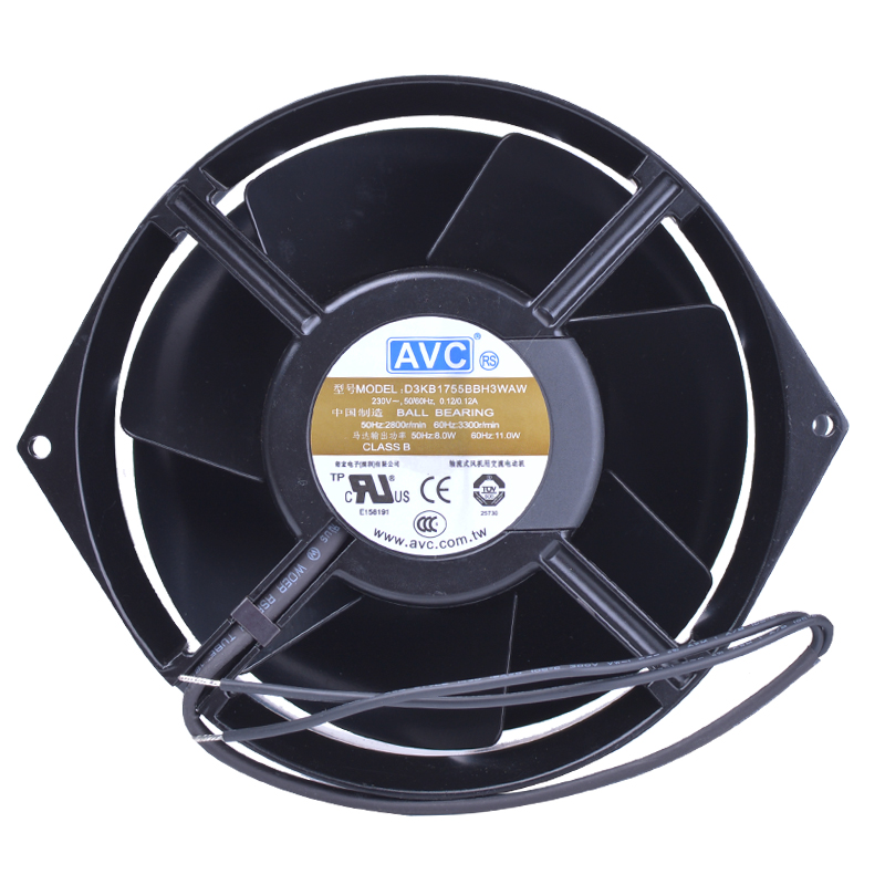AVC D3KB1755BBH3WAW AC 230V 0.12A, 170x55mm Server Round fan avc data1551b4l 17250 24v line server electronic enclosures fan