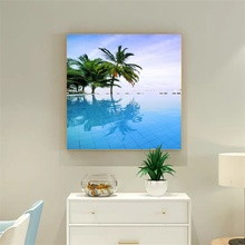 Laeacco Canvas Painting Calligraphy Tropical Palm Tree Sea Posters and Prints Wall Artwork Home Living Room Decoration