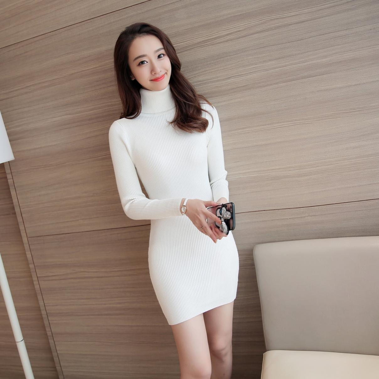 Video turtle Sexy Knit Dress Fashion 2018 New Womens Autumn Spring Long Sleeve Dresses F ...
