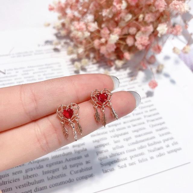 MENGJIQIAO 2018 New Korean Delicate Love Heart Crystal Stud Earrings For Women Metal Leaf Tassel Pendientes Femme Small Trinket