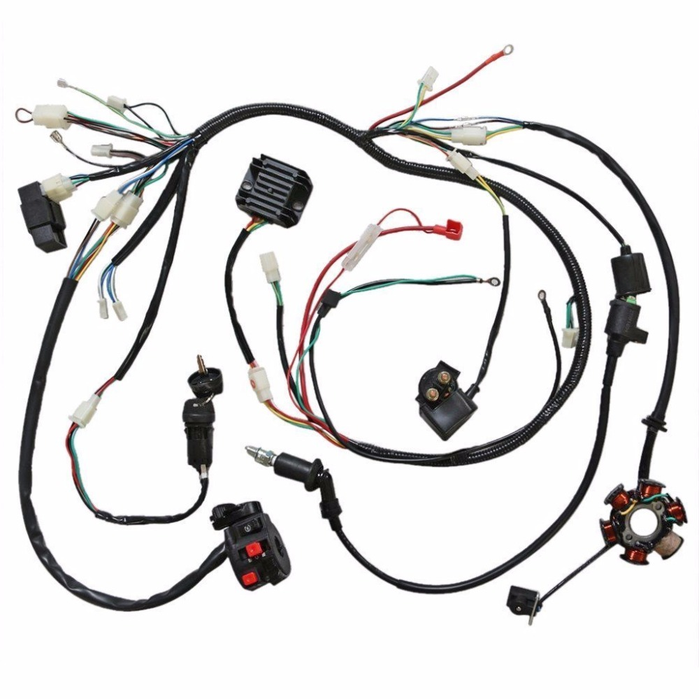 small resolution of mymotor wiring harness loom kit cdi rectifier key ignition coil magneto stator for gy6 125cc 150cc