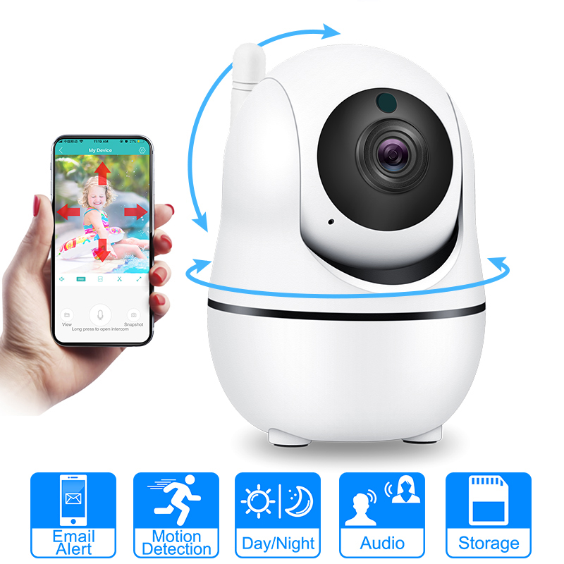 Auto Tracking IP Wifi Camera Mini Cloud Storage IP Camera Wireless Motion Detection Two Way audio Home Security Camera CCTV gear shift