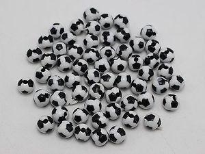 200 черных и белых акриловых круглых бусин 8 мм для футбольных мячей