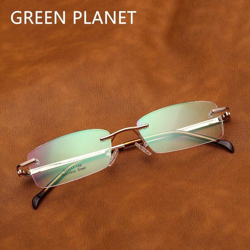 Men Stainless Steel  Eyeglasses Frame Rimless Optical Designer Myopia Brand Clear Frame Light Spectacles Glasses #MT3001