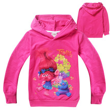 New Cartoon Trolls Sweatshirts Hoody For Girls Spring Kids Hoodies T Shirt Long Sleeves Girls Tops Child Shirt Teen Clothes