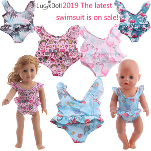 Doll Clothes 4 Patterns Cute Swimsuit Fit 18 Inch American Doll&43 CM Born Baby Doll,Generation,Birthday & Christmas Gifts(China)