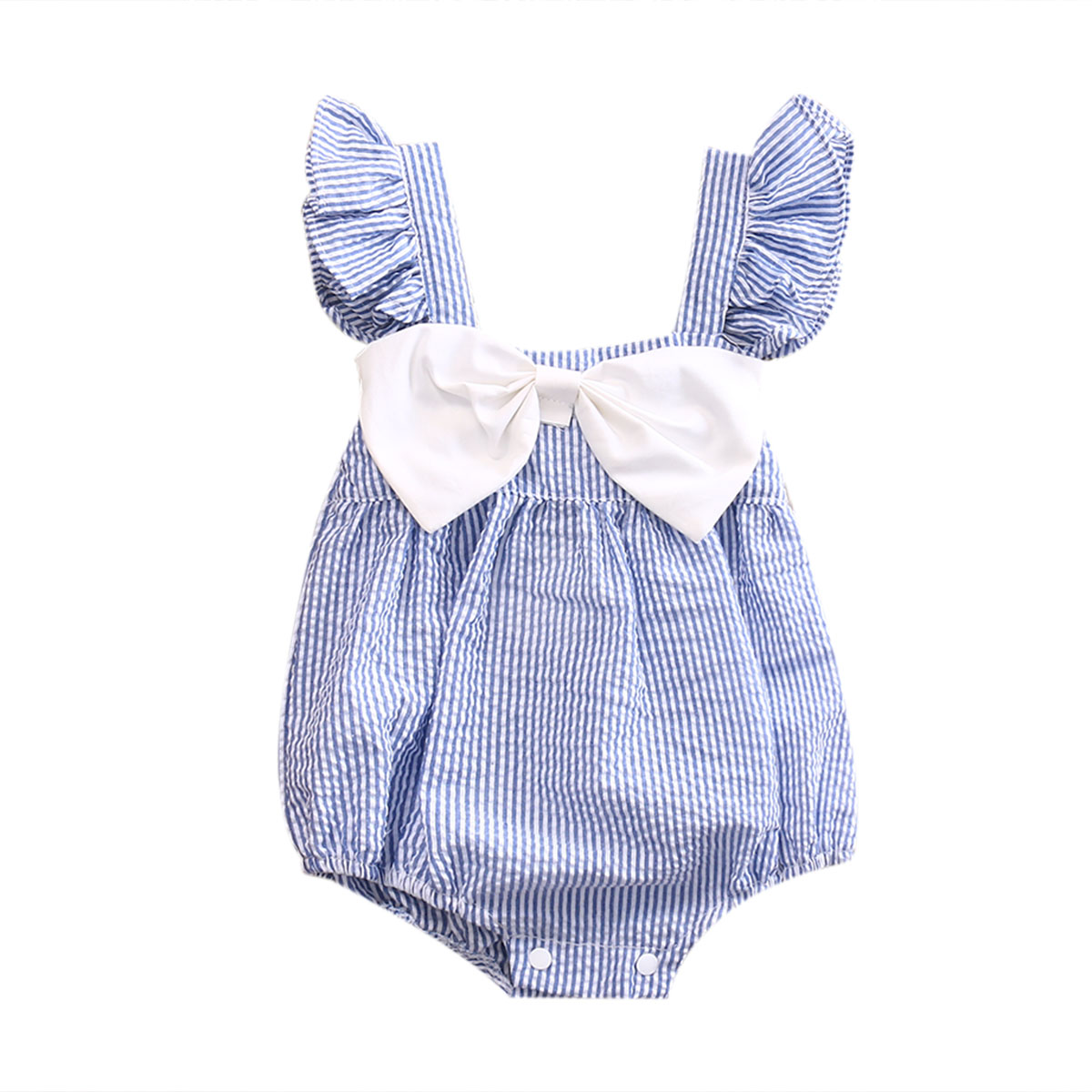 Newborn Infant Baby Girl Bodysuit Fly Short Sleeve Bow-knot Striped Jumpsuit Casual Cute Outfits Summer New