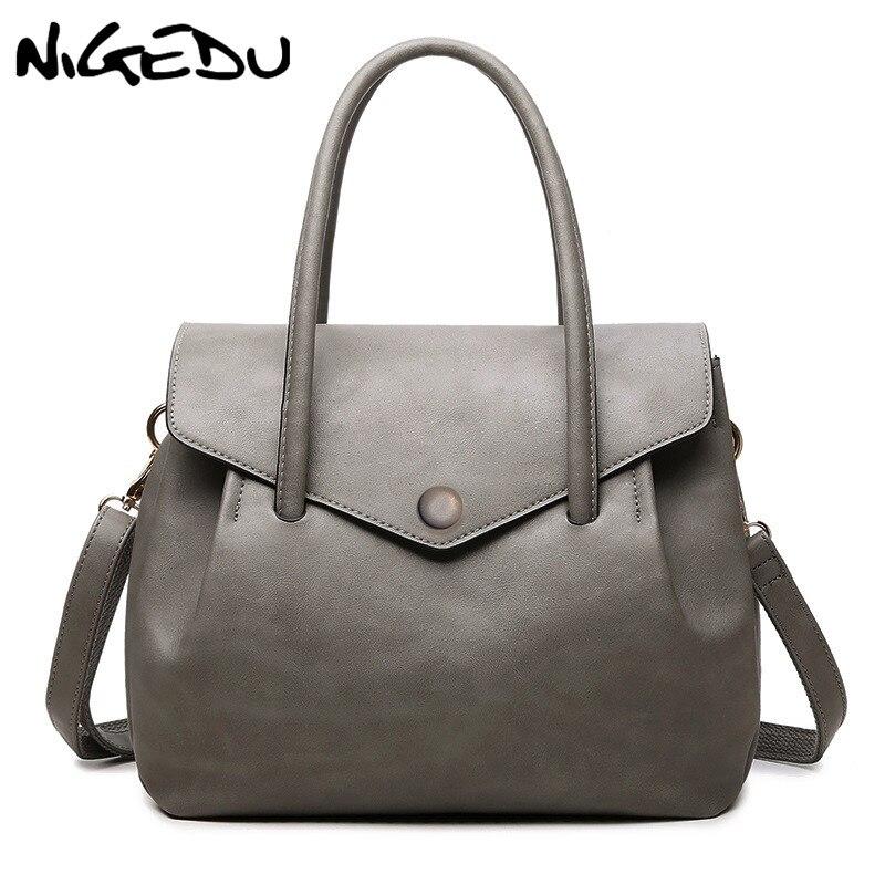 NIGEDU Fashion Women Totes Handbag Casual Top-Handle Bag designer luxury handbags women Shoulder bags PU Vintage Soft Versatile сумка handbags for women pu versatile handbag