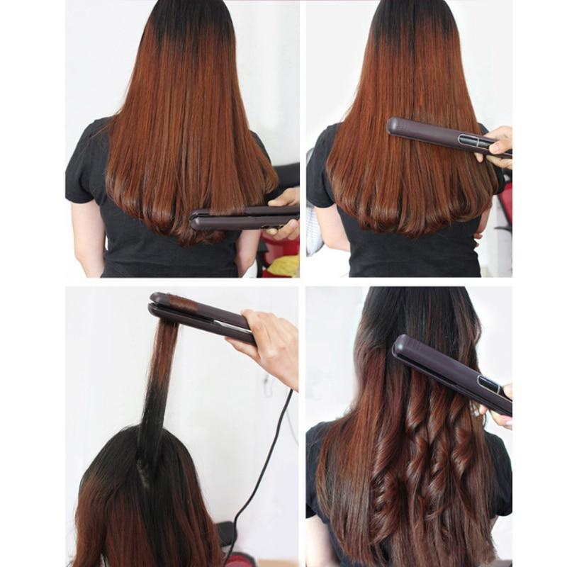 Купить с кэшбэком Korean Tourmaline Ceramic Fast heating Flat Iron Wide Plate Hair Straightener Curler Dual Voltage LED Floating Styling Tools
