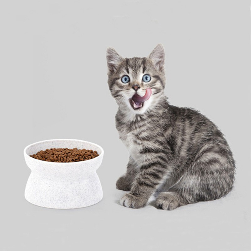 Cat Bowl Raised Plastic Adult Food Water Bowl Protecting Cervical Pet Feeder Bowl Indoor Cat Care Feeding Bowls For Cat image
