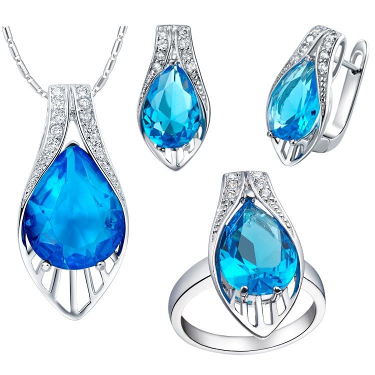 Luxury Jewelry suit Girls Zirconia white Plated Pendant Earrings Ring Jewelry Bride Set Zirconium Blue