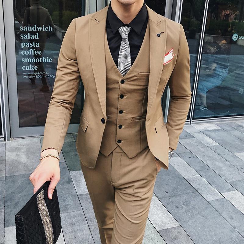 Hombres Pantalón 3 Slim Pieza Los Para Trajes Novio Nueva Chaleco fucsia Negro Hombre caqui Traje 2xl Chaqueta Otoño Esmoquin Oscuro Casual Simple De Vestir Boda Invierno Fit gris 115nrqwO