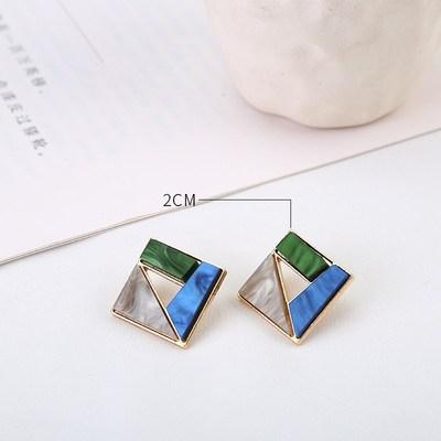 AOMU coréen bleu géométrique acrylique irrégulière cercle creux carré balancent des boucles d'oreilles pour les femmes en métal bosse fête plage bijoux 25