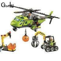 GonLeI 10640 Bela City Series Volcano Supply Helicopter Geological Prospecting Building Block Bricks Toys Gift Children 60123