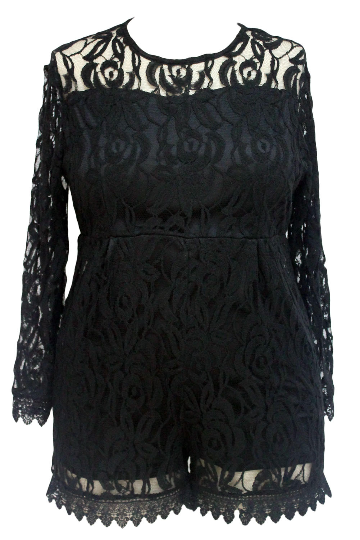 Black-Plus-Size-Long-Sleeve-Lace-Romper-LC60599-2-3