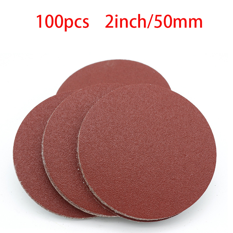 100pcs 50mm 2 Inches Grit 800 1000 1200 1500 2000 3000 Sanding Discs Hook Loop Sandpaper Round Sandpaper Disk Sand Sheet
