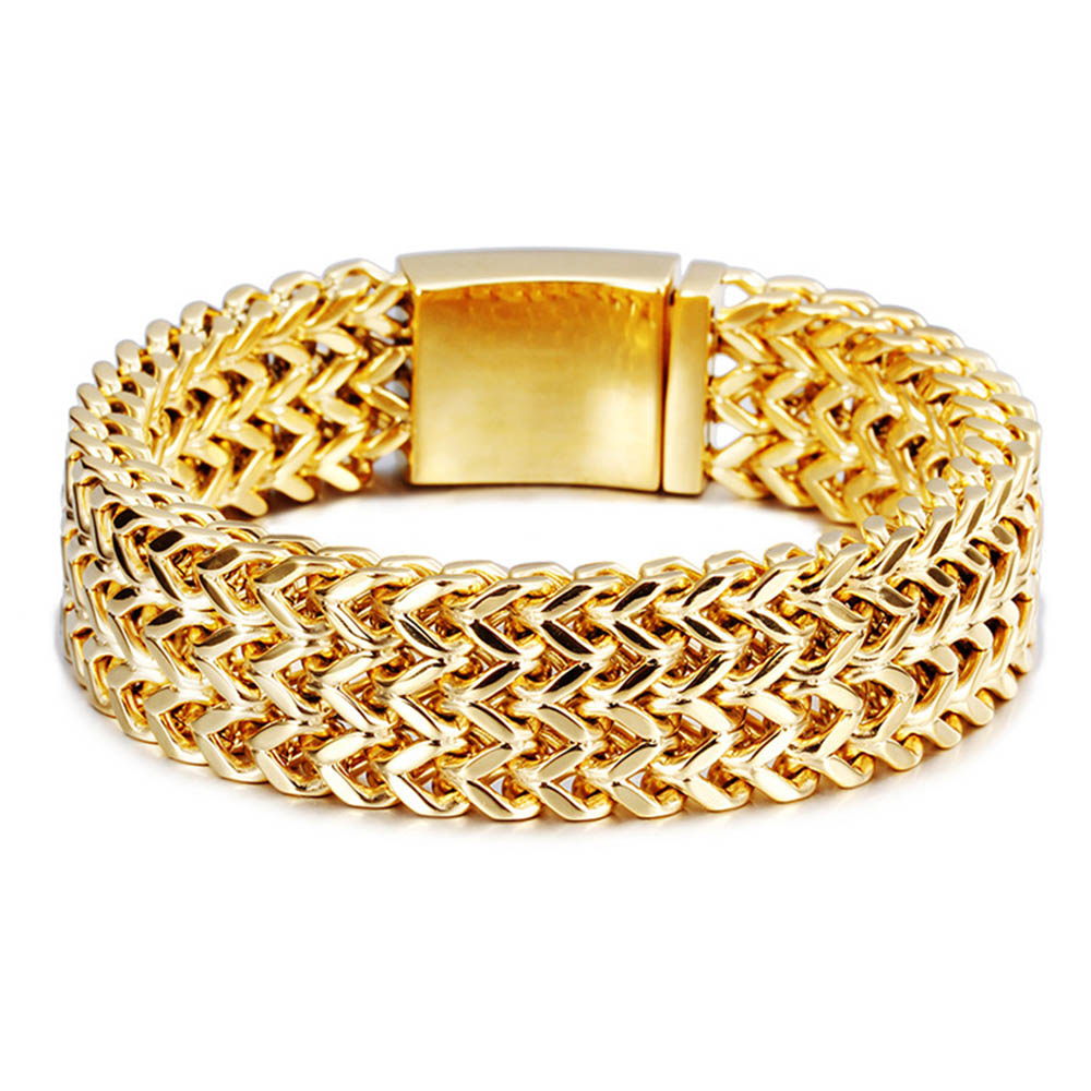 Gold-color Mens Chain Bracelet Bangle Motorcycling 316L Stainless Steel Metal Classic Party JewelryGold-color Mens Chain Bracelet Bangle Motorcycling 316L Stainless Steel Metal Classic Party Jewelry