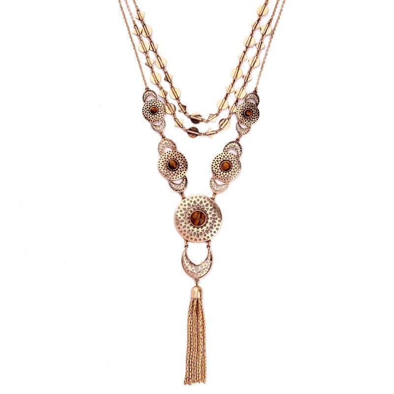 eea913157193 Collar Maxi collares Collier mujer collar multilayer vintage hueco y  Colgantes último diseño OPAL borla para las ventas calientes 2017