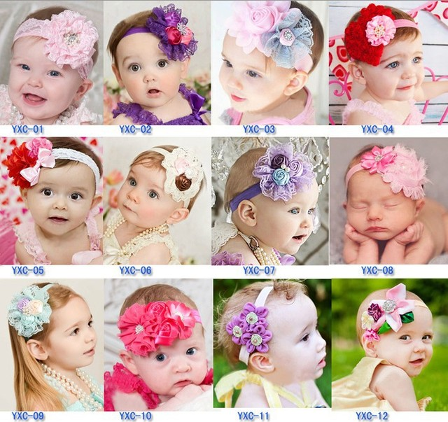 bc8c099785c5 Free Shipping 10pcs lot 2015 Baby Headband elastic lace hairbands infant  girls flower hairbands with rhinestone hair accessories