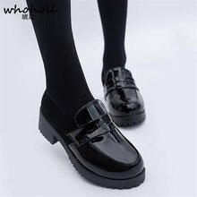 WHOHOLL śliczne Lolita dziewczyna kobiety pokojówka buty buty okrągłe Toe skórzane buty japoński JK liceum jednolite Kawaii Anime Cosplay