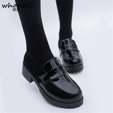 WHOHOLL חמוד לוליטה ילדה נשים חדרניות מגפי נעלי עור הבוהן עגול נעלי יפני JK תיכון Kawaii אנימה קוספליי