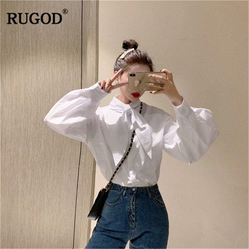 Office Spring New Long Tied Elegant Women White Ladies 2019 Female Chic Blouses Sleeves Rugod Lantern Wearing Shirts Modis Tops fEYqPwn5