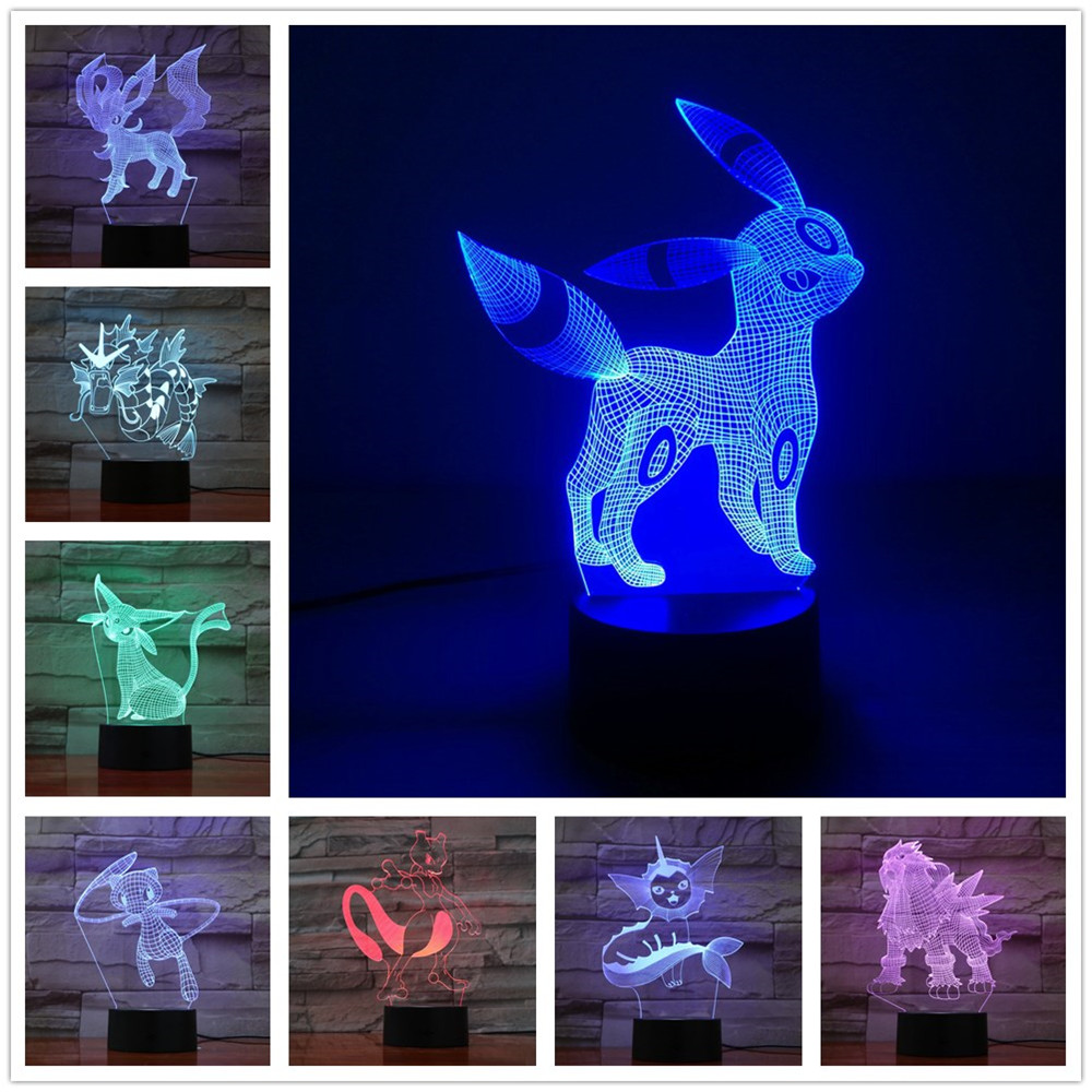 Pokemon Umbreon 7 Color Lamp 3d Visual Led Night Lights Kids Touch Usb Table Lampara Lampe Pikachu Baby Pokemon Go Action Figure