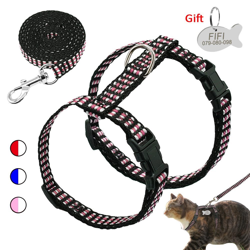 Nylon Cat Harness And Leash Set Customized Cats Kitten Harnesses With Id Tag Anti Lost Name Tag