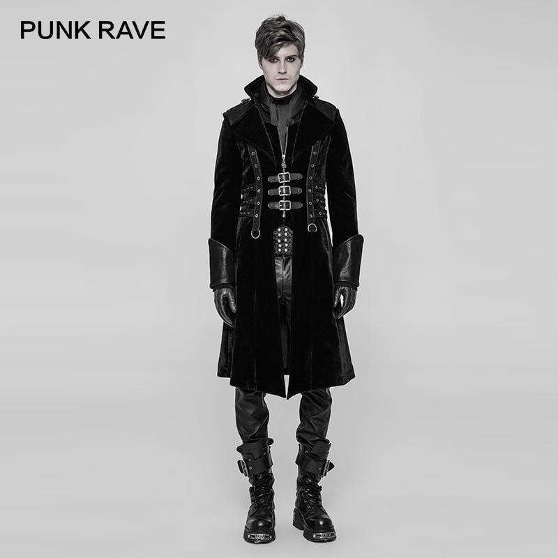 PUNK RAVE New Military Uniform Punk Rock Black Thick Medium length Style Men Jacket Gothic Cosplay Long Coat Men Windbreaker