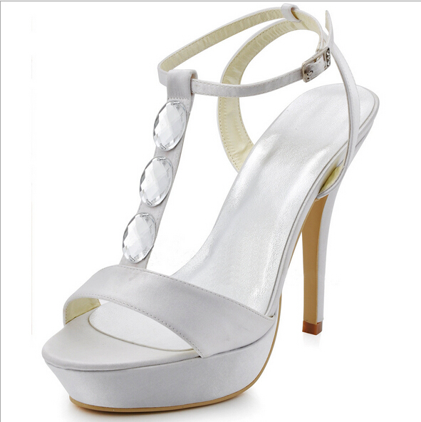 Soldes Femmes Sandales 2016 Buckle Strap High Heels Womens Sandals White Ladies Prom Shoes Crystal T Strap Ladies Zapatos Mujer hollister soldes