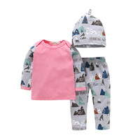3Pcs Kids Clothing Set Newborn Baby Girl Boy Clothes Casual Style Infant Baby Top Long Pants