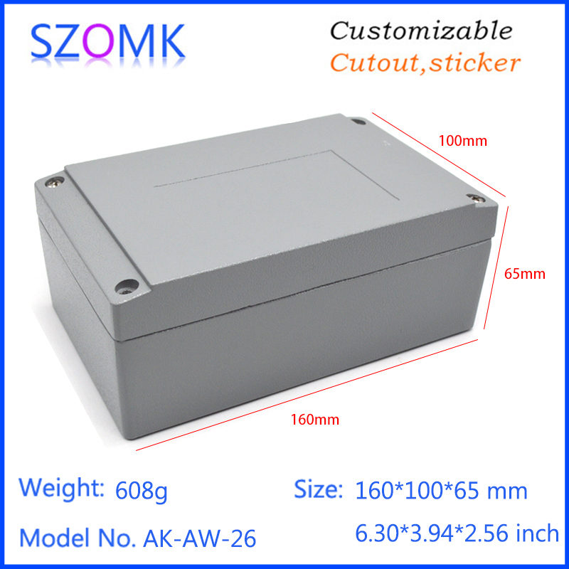 1 piece, 160*100*65mm die casting aluminum electronics box ip66 enclosure waterproof casing for electronic project box 4pcs a lot diy plastic enclosure for electronic handheld led junction box abs housing control box waterproof case 238 134 50mm