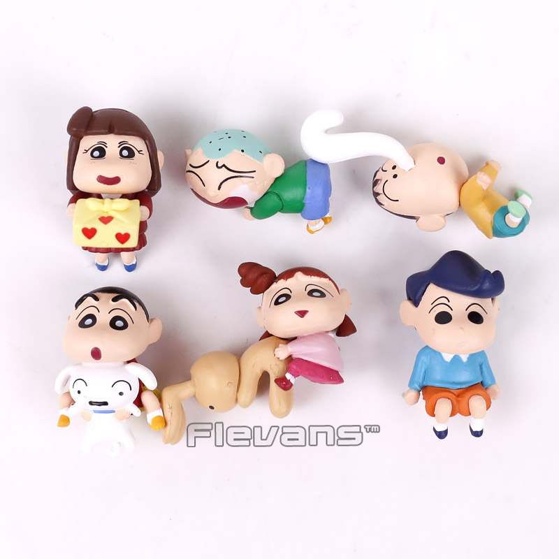 Anime Cartoon PUT IT TO Series Crayon Shin chan Mini PVC Figures Collectible Model Toys 6pcs/set 8pcs lot anime crayon shin chan mini pvc action figure cute crayon shin chan figures toys doll collectible model toy gift