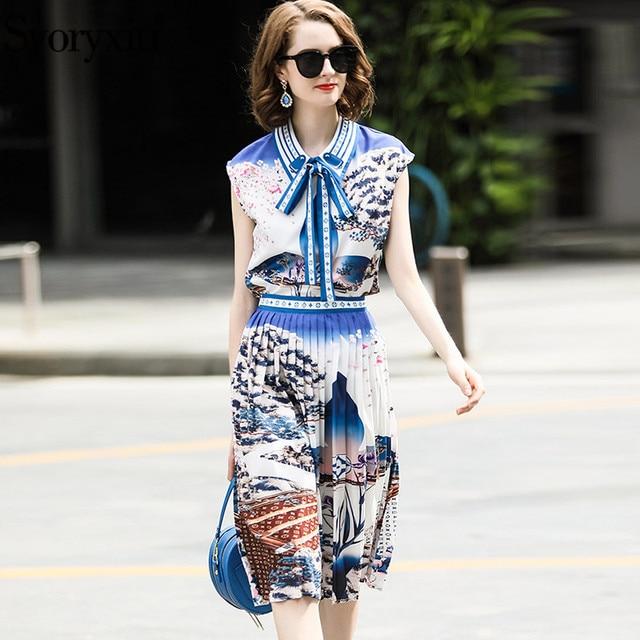 Svoryxiu Fashion Designer Summer 2 Piece Set Women s Sleeveless Print Tops  + Pleated Skirts Elegant Party 7569feacd1c5