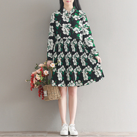 Green Floral Print Pleated Chiffon Girls Dress 2017 Summer Lovely Style Casual Beach Season Vintage Party