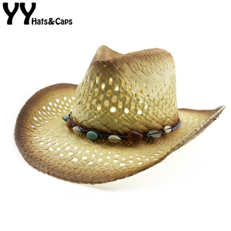 Palha Natural Chapéu de Cowboy Mulheres Homens Handmade Weave Cap Jazz  Chapéus de Cowboy Western Summer a180ddad663