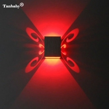 Tanbaby Butterfly 3W LED Wall Sconce Surface Mounted Light Fixture Lamp Aluminum Effect Wall Light Indoor Decoration Lamp(China)