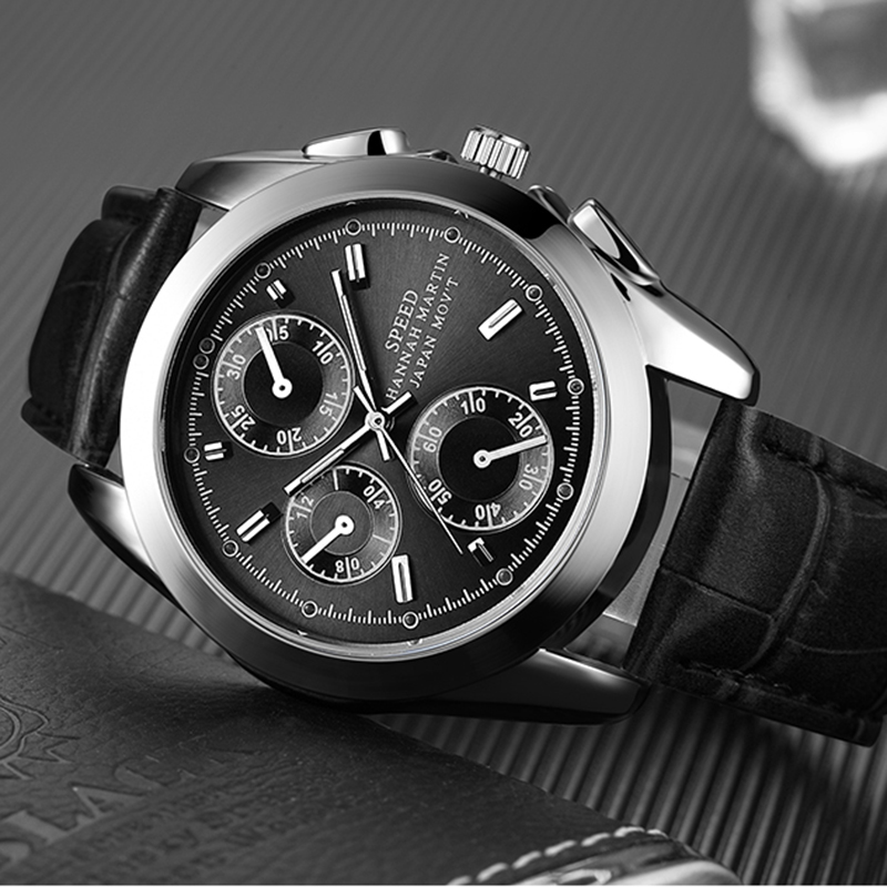 HM Fashion Top Brand Sport Men Watch 3 Eyes Quartz Analog Black Wristwatch Luxury Dress Causal Waterproof Gift For Man Relojes