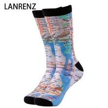 Креативная картографическая печать мужские и женские модные забавные носки с 3d принтом 200 вязаные Компрессионные носки с масляной росписью