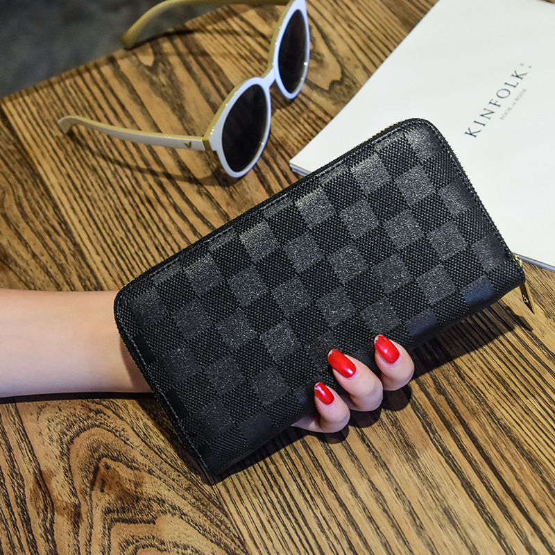 Male Purse Men's Clutch Wallets Business Wallets Women Purse Plaid Wallets Long Card Holder Female Zipper Wallet KZ18100 wallets
