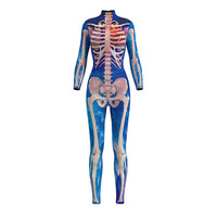 3D Skeleton Adult Cosplay Skull Printing Jumpsuits Halloween Costumes for Women Carnival Party Long Sleeve Bodysuit Zentai
