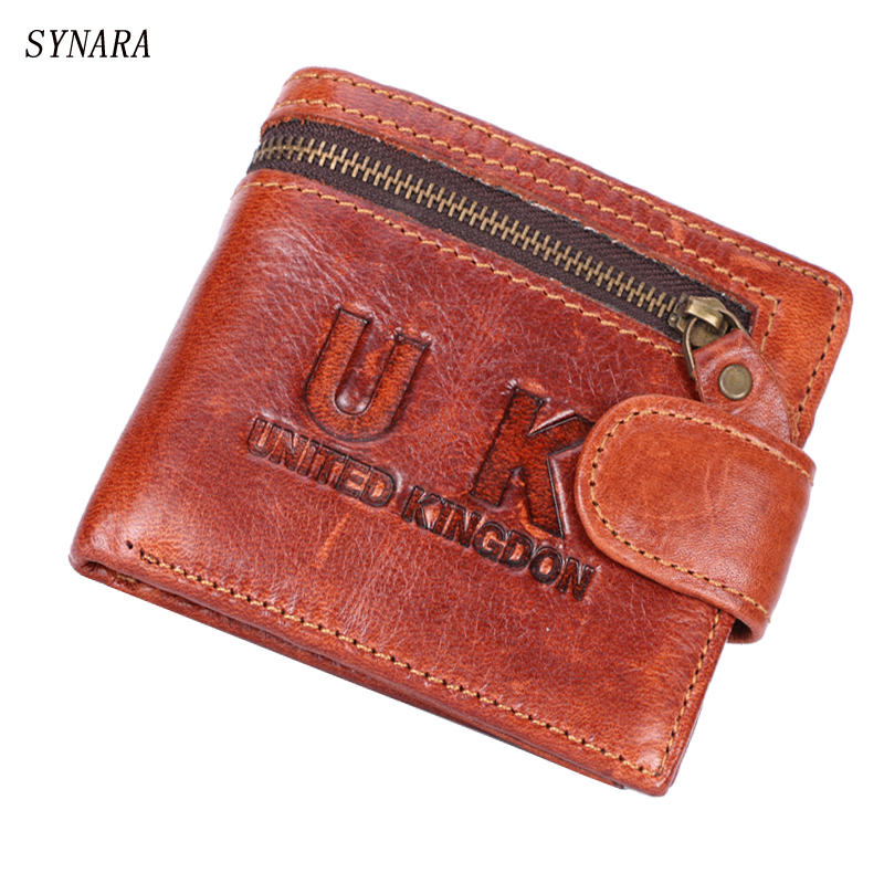 Fashion New Genuine Leather Men Wallets Brand Quality Red Brown Coin Pocket Purse ID Credit Card Holder Wallet Free Shipping