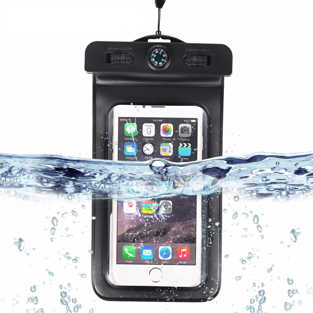 Waterproof Case, Universal Dry Bag Pouch with Compass Lanyard,WaterProof, Dustproof, Snow proof Dry Bag for Any Cell Phone pochette étanche pour téléphone