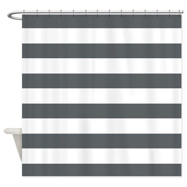 Warm Tour Gray and White Bold Stripes Shower Curtain Fabric ...