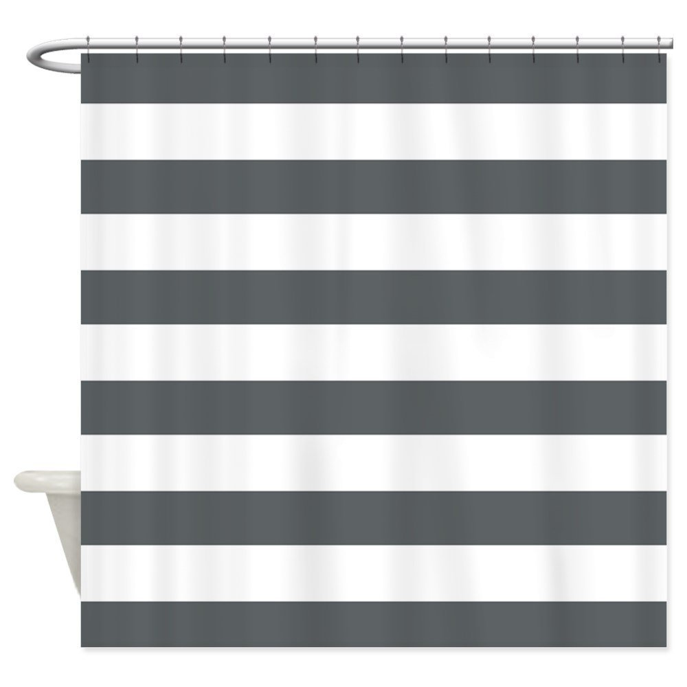 Warm Tour Gray and White Bold Stripes Shower Curtain Fabric Polyester Waterproof Bathroom Curtains