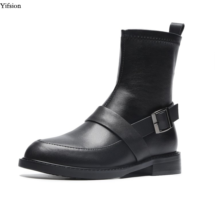 Yifsion New Fashion Women Winter Leather Ankle Boots Square Low Heel Shoes Round Toe Black Party Shoes Women Plus US Size 4-9Yifsion New Fashion Women Winter Leather Ankle Boots Square Low Heel Shoes Round Toe Black Party Shoes Women Plus US Size 4-9