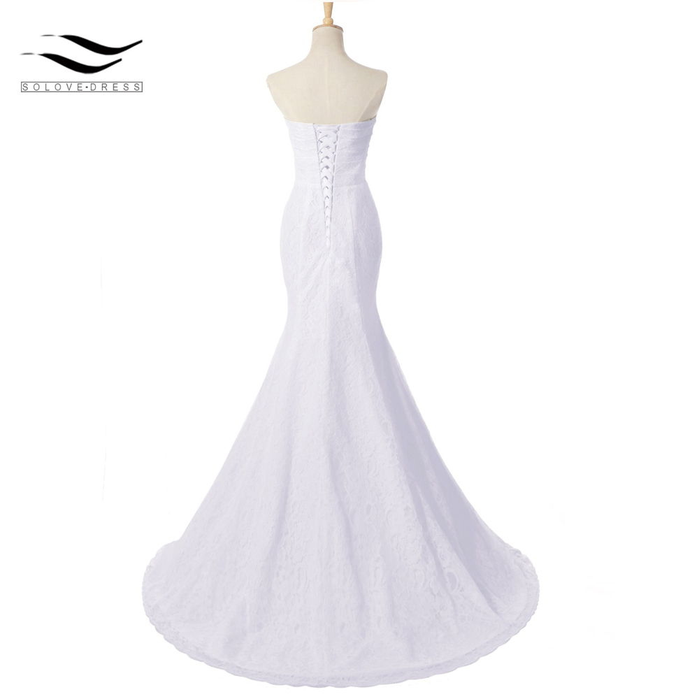 7700b58c14650 Solovedress Elegant Bridal Gown Real Photos Cheap Mermaid Sexy Side Slit Wedding  Dress Lace 2018 vestido De noiva 2018 SLD W0011-in Wedding Dresses from ...
