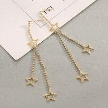 Korean Lovely Heart Stars Long Tassel Earrings Metal Gold Color Statement Dangle Earrings For Women Fashion Jewelry kolczyki цена