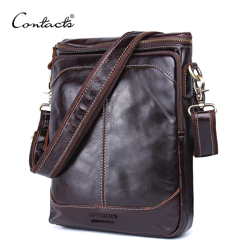 CONTACT'S Fashion Genuine Leather Shoulder Bag Men Crossbody Bags Small Over-the-shoulder Messenger Bags Luxury Male Travel Bag jason tutu promotions men shoulder bags leisure travel black small bag crossbody messenger bag men leather high quality b206