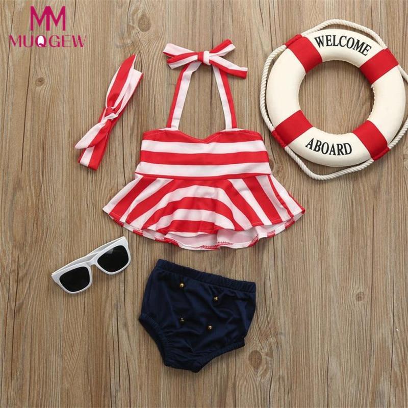 3Pcs Infant Kids Baby Girls Swimwear Straps Swimsuit -9653
